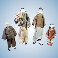 Family of Very Old Paper Mache Chinese Dolls, All Original