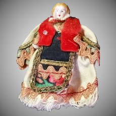 "2"" Bisque Carl Horn Hertwig Doll in Elaborate Costume, A/O"