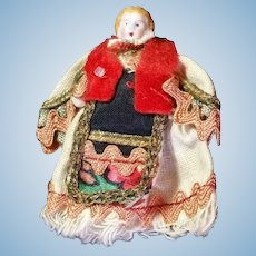 """2"""" Bisque Carl Horn Hertwig Doll in Elaborate Costume, A/O"""
