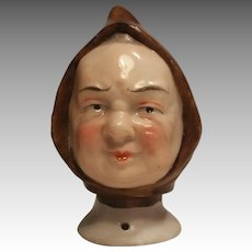 Unusual German Half Doll In The Form Of A Friar / Monk