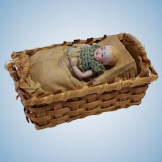 Tiny Bisque Baby in Basket, Squeaker Toy