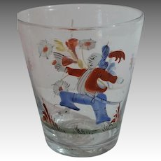 Rare Enamel Decorated Stiegel Type Folk Art Character Blown Glass Tumbler