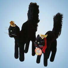 Two Velveteen Steiff Halloween Black Cats w/ Buttons And Tags In Ears