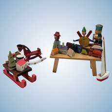 Four Painted Wooden Holiday Toys Santa's Shop