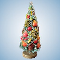 "8"" Tall Heavily Decorated Bottle Brush Christmas Tree"