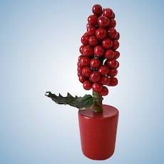 Vintage Christmas Berry Tree in Wood Container