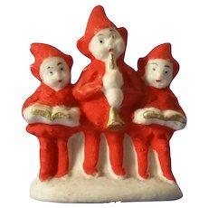 Miniature Trio of Bisque Carolers Germany