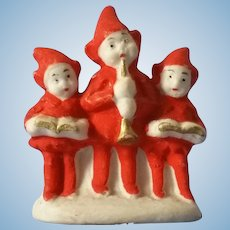Miniature Trio of Bisque Carolers Germany