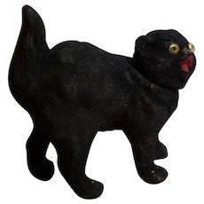 German Black Cat Flocked Candy Container