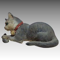Early Paper Mache Cat and Mouse Candy Container