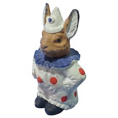 Clown Bunny Paper Mache Candy Container