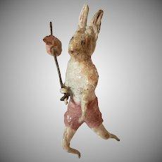 Antique Spun Cotton Hobo Bunny Ornament