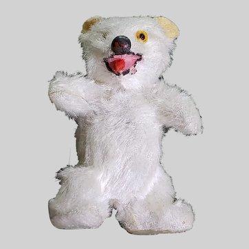 Vintage German Miniature Plush Polar Bear Glass Eyes Metal Nose