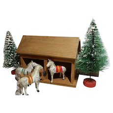 German Putz Stable With 3 Stick Leg Horses and Trees