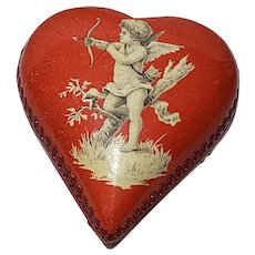 Pressed Cardboard Dresden Litho Red Heart Candy Container