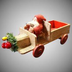 Santa on Wood Truck Marked Germany