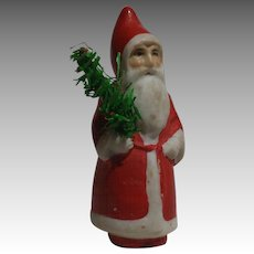 Diminutive Bisque Santa With Feather Tree