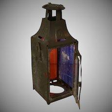 """3 1/2"""" Tin Lantern For Pere Noel, Marked Depose"""