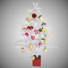 "Vintage 18"" White Feather Tree With 22+ Spun Cotton Ornaments"