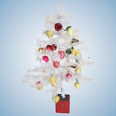 "Vintage 18"" White Feather Tree With 22+ Spun Cotton Ornaments"