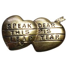 Victorian Brass Double Heart Leap Year Pin