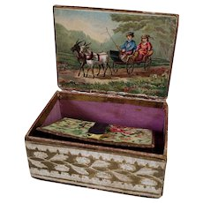 Embossed Needle Box or Case Inset Mirror Accordion Needle Cards