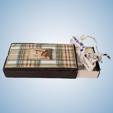 Antique Name Tags in Plaid Box