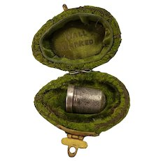 Antique Birmingham Sterling Thimble in Original Velvet Egg Box