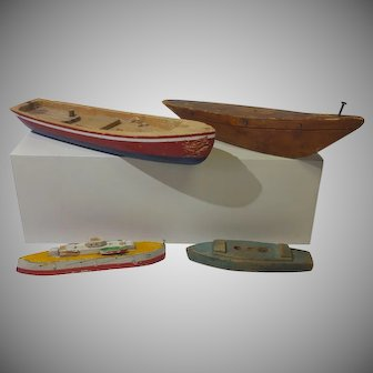 4 Old Primitive Wooden Toy Boats