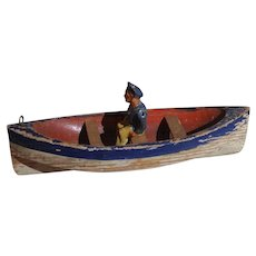 Old Folk Art Carved Wooden Boat With Sailor