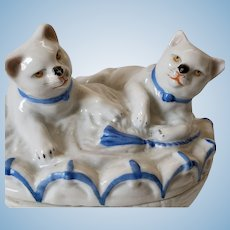 Lovely Antique German Porcelain Trinket Box Two Cats Playing