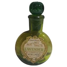 Rare Miniature Green Glass McCormick & Co. Lavender Perfume Salts Bottle Bee Design