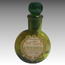 Rare Miniature Green Glass McCormick & Co. Lavender Perfume Salts Bottle Bee Design