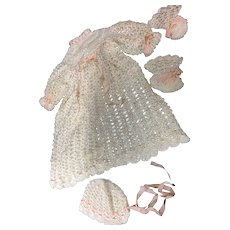 Crocheted Silk Dress Bonnet & Booties for baby or Toddler doll