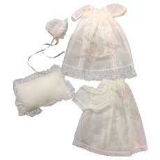 Christening Gown, Bonnet, Petticoat, Pants & Pillow for all bisque doll - Red Tag Sale Item