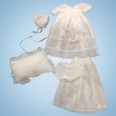 Christening Gown, Bonnet, Petticoat, Pants & Pillow for all bisque doll