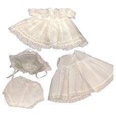 White Cotton Dress Bonnet Petticoat & Pants