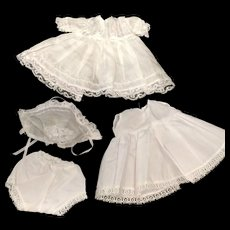 White Cotton Dress Bonnet Petticoat & Pants