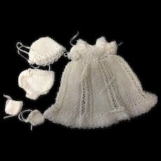 Stunning Beaded Knitted Gown, Bonnet, Pants & Booties for small doll or all bisque