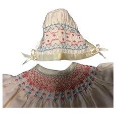 Beautiful Hand Smocked Dress & Bonnet