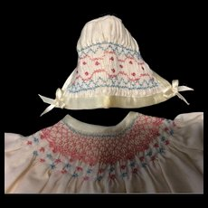 Beautiful Hand Smocked Dress & Bonnet