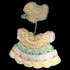 Miniature Crocheted Dress and pants for tiny doll or dolls house doll