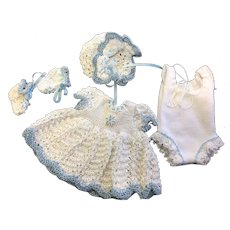 Pretty Knitted Dress, Bonnet, Booties & Underwear for small doll or all bisque