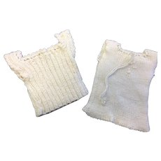 2 x Cream knitted Vests Silk trim & embroidered