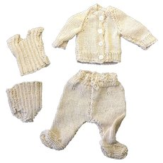 Knitted Jacket, Leggings, Vest & Underpants for small or all bisque doll