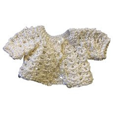 Sweet cream silk crocheted jacket for small or all bisque doll
