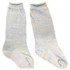 Pair of Fine Knitted Blue Doll Socks
