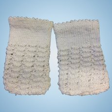 Beautiful Cream Hand Knitted Doll Socks
