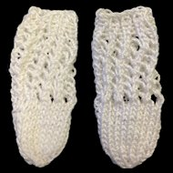 Small little pair of White Knitted Doll Socks
