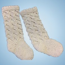Deep Cream Pair of Knitted Doll Socks